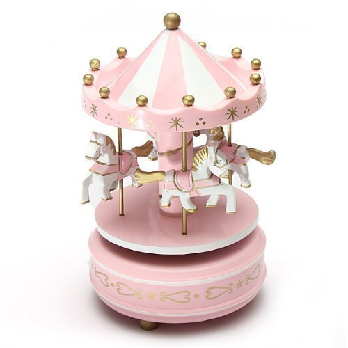 FUBARBAR Lovely Fairy Tale Style Carousel Music Box For Home Decoration Crafts Couples Valentine's Day Gift (Pink)