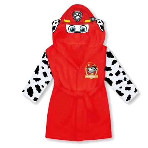 paw-patrol-marshall-bambini-accappatoio-in-pile-con-cappuccio-rosso-red-4-5-years
