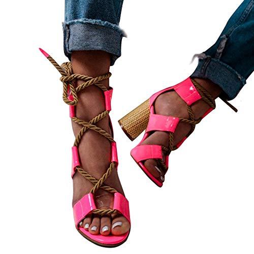 Manooby Donna Lacci Sandali Con Tacco Quadrato Con Il Cinturino Gladiatore Cinturino Alla Caviglia Estivi