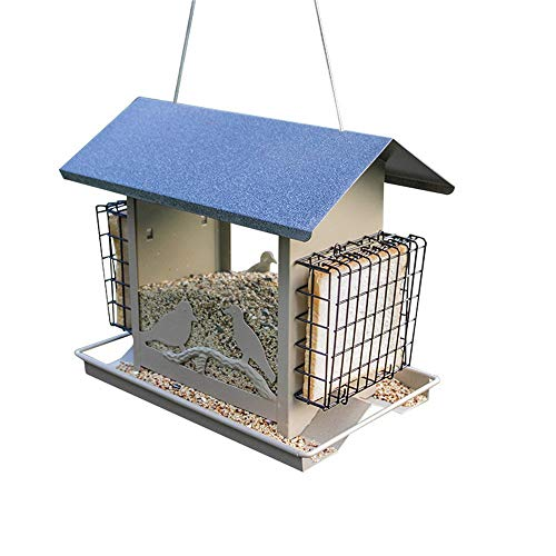 ACZZ Deluxe Wooden Wild Bird Feeder, Outdoor-Balkon Garden Wild Bird Nest, Outdoor-Vogelfutter für Wildvögel, Finch, Kardinal, Bluebird, Large außerhalb hängenden Vogelhaus Kits Bluebird Feeder