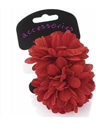 Paire de magnifiques fleurs rouge petits élastiques–Nombreuses couleurs disponibles