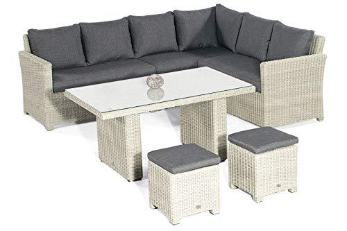 Somerset Outdoor-möbel (SunnySmart Sunny SMART Somerset Dining-Lounge, Grey-White, Geflecht, 8 Personen, inkl. Polster-Kissen, Gartenmöbel-Set, Tisch mit Stühlen)