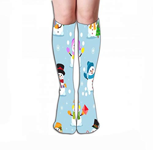Xunulyn Hohe Socken Men Women Outdoor Sports High Socks Stocking Snowman Cartoon Winter Christmas Character Holiday Merry Xmas Snow Boys Girls Snowflake New Year Tile Length 19.7