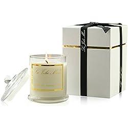 Vela perfumada, cera de soja natural aroma de Jasmine, portavelas cristal. Para decoración, hogar y regalo 55Horas