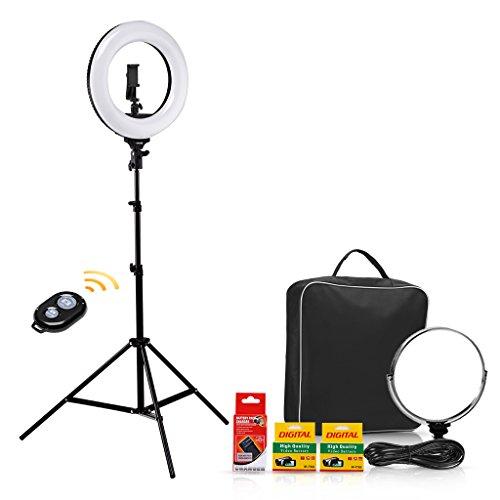 Luz Anillo Bicolor Regulable NO Filtro de Color CRAPHY Cámara Foto Video Kit de Iluminación- 14'' Exterior Ring Light 40W 3200k-5600k Dimable LED Anillo de Luz, Soporte de Luz 79', Receptor Bluetooth para Móvil, Youtube, Disparo Selfie Video (Enchufe UE)