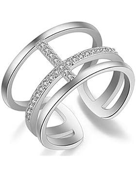 Damen Ringe Öffnung Verstellbar 925er Sterling Silber mit Zirkonia Personalisierte Multi-tail ring Partnerschaftsringe...