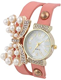 KMS Diamond Butterfly Women's Baby Pink Analog Watches