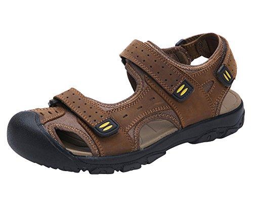 Genda 2Archer Uomini che Camminano a Piedi Chiuso Piedi Velcro Sandali Marrone