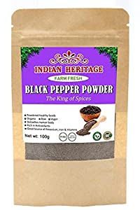 Indian Heritage Black Pepper Powder(King of Spices) (Pack of 2 X 100gm)