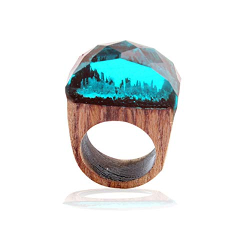 (Einzigartiges Design Wald Holz Harz Männer Frauen Paar Ringe Modische Unisex Miniatur Landschaft Hochzeit Ringe Schmuck - Blau 8)
