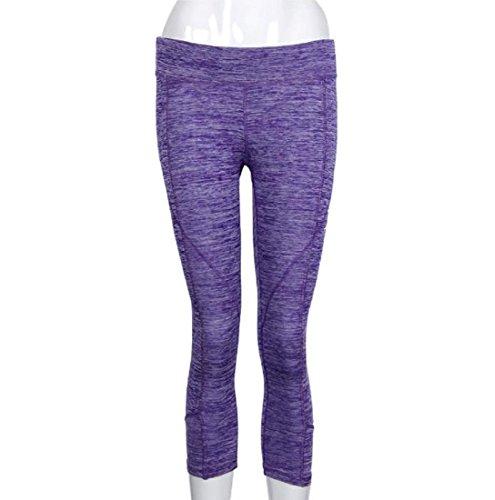 Pantalon de sport Ularmo Femmes Elasticité exercice Yoga Courir Sports Fitness Gym Pants pantalons Violet