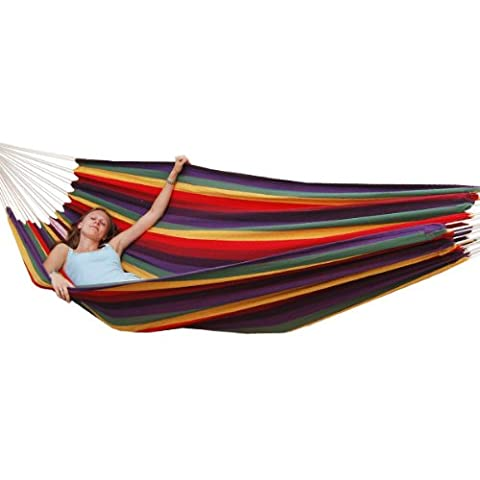 AMANKA Hammock XXL Hanging Lounger 400x160cm | Several People Garden Swing | Fabric Seat Washable Cloth 100% Cotton | Load up to 150kg |