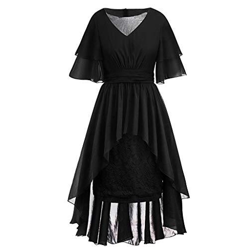 Yu'ting ☀‿☀vestiti donna eleganti lunghi sexy vestito con cinturino arruffato irregolare cerimonia banchetto di festa danza gonne abiti sala da ballo manica corta dress