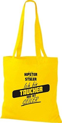 Shirtstown Stoffbeutel du bist hipster du bist styler ich bin Taucher das ist geiler gelb
