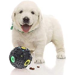SunGrow Jouet interactif pour chien et chat - Balle casse-tête à nourriture - Distributeur de friandises pour chiots, et animaux de petite et moyenne taille - Augmente le QI, chasse l'ennui