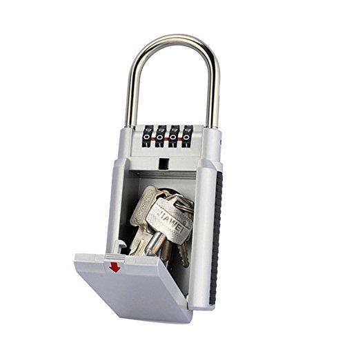 ag-fashion password Key box, cassaforte a parete chiave di sicurezza, tasto lucchetto a combinazione box/Key Safe, impermeabile chiave Keeper grigio/nero per condivisione sicuro per le chiavi, argento