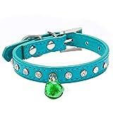 Barlingrock Welpenhalsbänder für kleine Hunde, Hundehalskette PU-Leder-Kristall mit kleinem Glöckchen Haustier Hund Hundehalsbänder, verstellbare Halskettenhalsbänder für Doggy