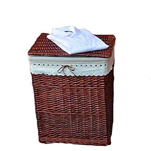 Cesto de mimbre para ropa sucia marrón con tapa