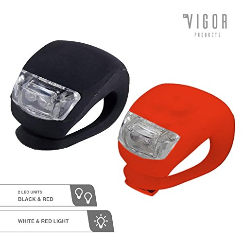 MyVigor Clip-On 2x Bike Lights LED(Black / Red) Flexi Silicone Waterproof Bicycle Flashlight Kit Ultra Bright LED for Front + Back Clip-On. Be Safe & Be Seen with a set of LED Cycle Lights. See colour options + Just Add to Basket.