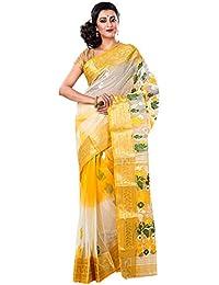 RLBFashion Women's Cotton Silk Handloom Dhakai Jamdani Saree (White & Yellow)