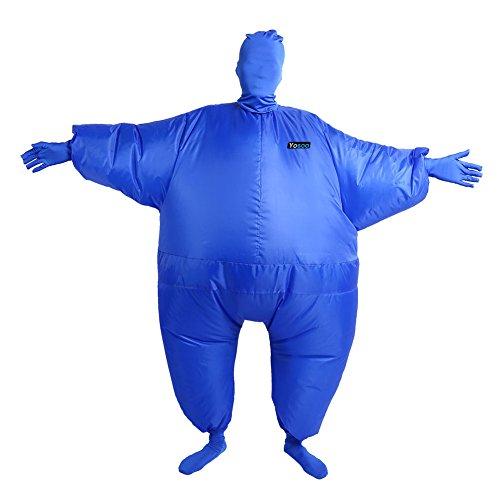 Aufblasbar Blowup Döbel Ganzkörper Anzug Kostüm Ganzanzug Weihnachten Toll (Blau)