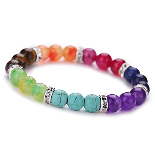 Cadania braccialetto rotondo in cristallo colorato con gemme di pietra lavica di pietre miste lavate a reiki