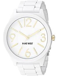 Nine West para mujer reloj infantil de cuarzo con esfera analógica blanca y blanco correa de silicona NW/1678wtwt