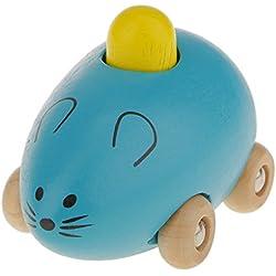 Juguete Magideal Mini Coche en Forma de Ratón Pequeño Niños Bebés Madera - Azul