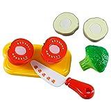Ultrakidz Johntoy Gemüse-Schneidset, Schneidebrett mit Gemüse, Spiel-Lebensmittel für die Spielküche, Küchenspielzeug zum Gemüse schneiden, 8-teiliges Spielset