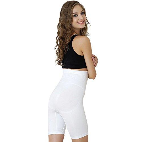 Formeasy Damen Shapewear Miederhose bauch weg stark formend Miederpants mit Bein Taillenformer Shaper angenehme figurformende Wäsche, Weiß, Large