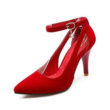 Moda Donna Sandali Sexy donna tacchi Primavera / Estate / Autunno Comfort Fleece Wedding / Party & sera abito / Stiletto Heel fibbia nero / blu / rosso a piedi Black