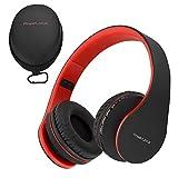 PowerLocus P1 - Auriculares Bluetooth inalambricos de Diadema Cascos Plegables, Casco Bluetooth con Sonido Estéreo con Conexión a Bluetooth Inalámbrico y Cable para Movil, PC, Tablet - Negro/Rojo