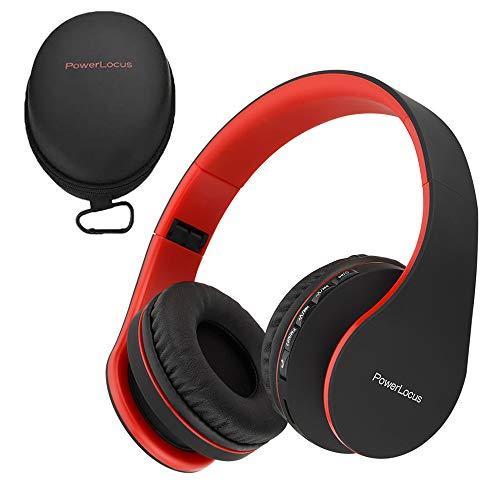PowerLocus Bluetooth Kopfhörer, Over-Ear Kabellose Bluetooth Kopfhörer Faltbar Wireless On Ear Ohrhörer Headset & 3,5mm-Audioeingang Micro SD,TF & mit Mikrofon für iPhone, Android, PC (Schwarz/Rot)