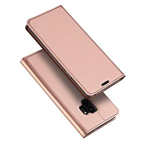Aobiny Handy Case für Samsung Galaxy S9Leder Brieftasche Karte Flip Ständer Cover, Rose
