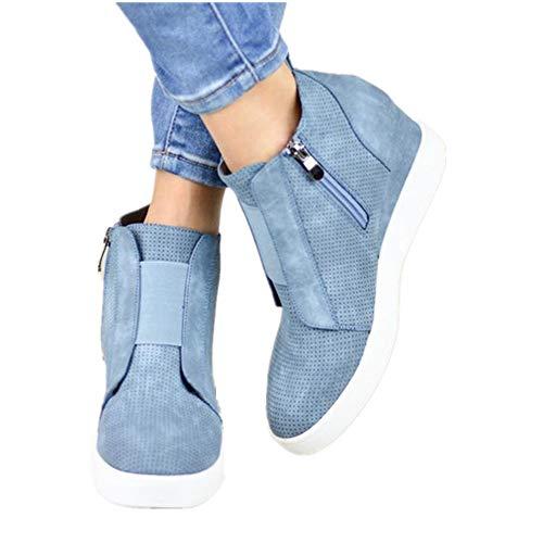Plateau Sneaker Damen Wedges Hohe Keilabsatz High Leder Kurzschaft 4.5cm Chelsea Ankle Boots Reißverschluss Keil Schuhe Beige Rosa Blau Grau 34-43 BL38