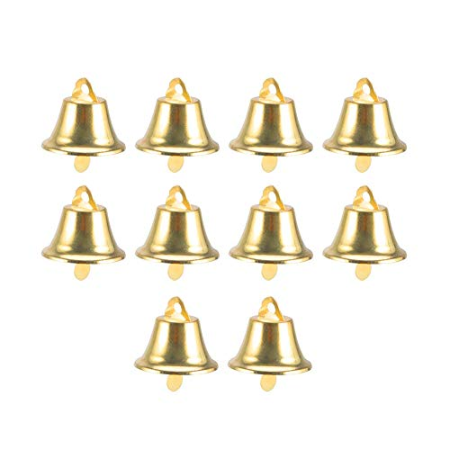 Hilai Jingle Bell Christmas Ornaments Tür Weihnachtsbaum hängende Dekoration Anhänger Weihnachtshaus-Partei-Dekor Hochzeit Bevorzugungen 10pcs (Gold)