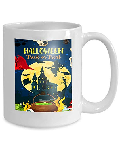 (mug coffee tea cup halloween castle dracula monsters ghost halloween trick treat party autumn holiday horror house 110z)