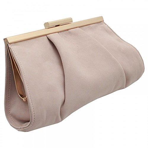 Peter Kaiser Likana Framed Clasp Close Clutch Handbag Beige Suede