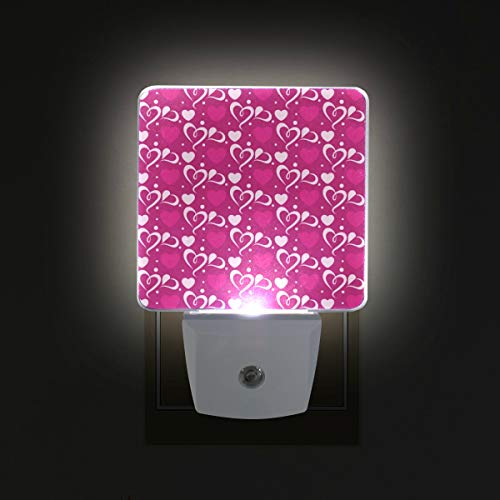 Ahomy - luce notturna a led, per san valentino, con sensore automatico a forma di cuore, dal tramonto all'alba, con spina in dotazione, confezione da 2