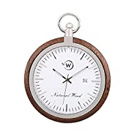 Original Wood Pocket Watch, Kwock Swiss Quartz Movement Stainless Steel Chain Natural Wooden Case Man Pocket Watches Best Gift for Birthday Holiday and Father's Day (Black Walnut)