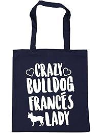 HippoWarehouse Crazy Bulldog Francés Lady Bolso de Playa Bolsa Compra Con Asas para gimnasio 42cm x