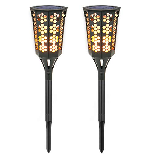 MoKo Solar Torch Lights [2PCS], Waterproof Flame Lighting Lamps 96LED Outdoor Flickering Torches Lantern Light Sensor Solar Spotlight for Garden Landscape Lawn Patio Deck Yard, Auto On/Off - BLACK