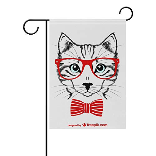 TIZORAX Hipster rote Brille Katze Haus Garten Flagge doppelseitig Frühling Sommer Hard Outdoor Deko Haus Flagge 30,5 x 45,7 cm, Polyester, Mehrfarbig, Small-12x18-Inch
