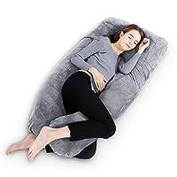 "Gluckluz Maternity Pillow Pregnancy Full Body U Shaped Pillow Case Velvet with Zipper Removable Cover for Pregnant Women Nursing Side Sleeping (Grey, 55"")"