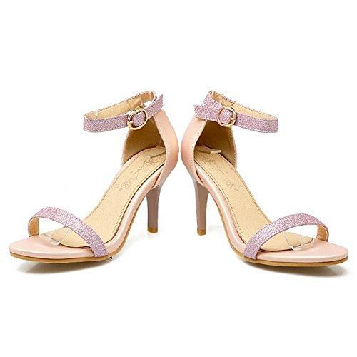 COOLCEPT Damen Mode-Event Knochelriemchen Sandalen Open Toe Stiletto Shoes Pink