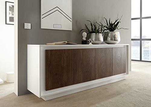 Mobile contenitore 4 ante moderno bianco opaco soggiorno ante effetto legno noce madia buffet con sportelli design shy 08