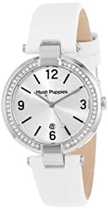 Hush Puppies Orbz Women's Automatic Watch with Silver Dial Analogue Display and White Leather Strap HP.3672L.2501