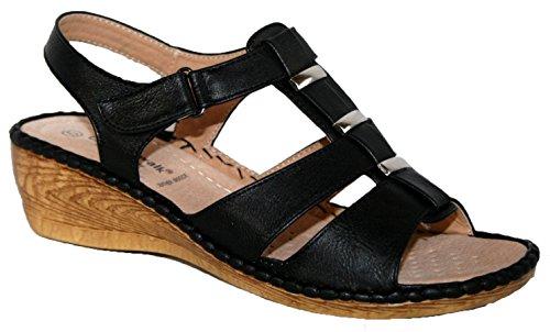 Sandales d'été à talon compensé légères Mesdames Noir