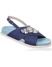 TWIN-SET - Sandalia azul de denim, bandas cruzadas, con aplicaciones de flores con strass, corazón con logo en la correa trasera, Niña, Niñas, Mujer, Mujeres-34