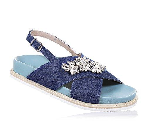 TWIN-SET - Sandale bleue en denim, bandes croisées, avec application de fleurs avec strass, cœur avec logo sur le bracelet, Fille, Filles, Femme, Femmes